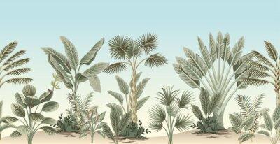 Fototapet Vintage tropical palm tree, banana tree, plant floral border blue background. Exotic jungle wallpaper.