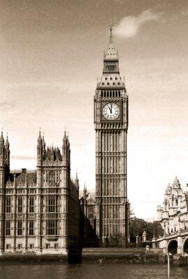 Fototapet Vintage utsikt över Big Ben klocktornet London. Sepia.