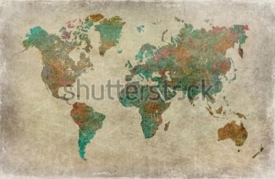 Fototapet vintage världskarta bakgrund