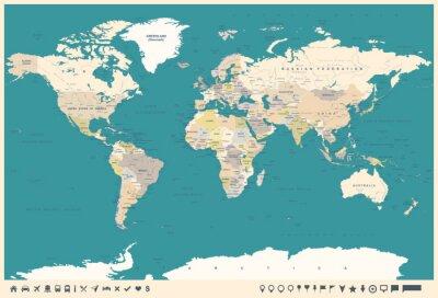 Fototapet Vintage världskarta och markörer - illustration