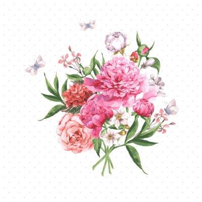 Fototapet Vintage vattenfärg kort med blommande blommor och