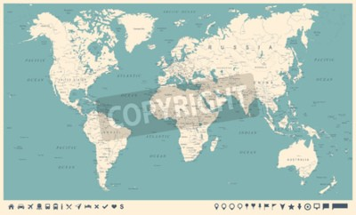 Fototapet Vintage World Map and Markers - Detaljerad Vektorillustration