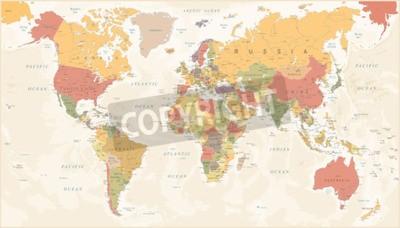 Fototapet Vintage World Map - Detaljerad Vektor Illustration