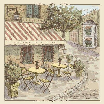 Fototapet Vintageakvarellillustration av street cafe i gamla stan