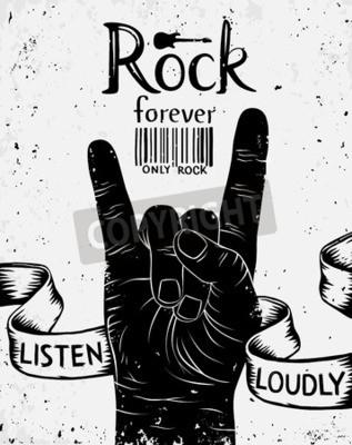 Fototapet Vintageetikett med rock evigt. Rock and Roll handen tecken