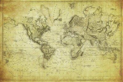 Fototapet vintagekarta av världen 1831