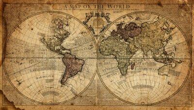 Fototapet vintagekarta av världen