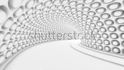 Fototapet Vit Abstrakt Tunnel 3d Bakgrund. 3d Render illustration