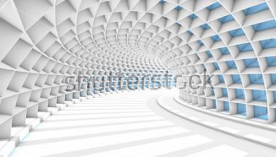 Fototapet Vit abstrakt tunnel med blå rektangel fönster. 3d Render illustration