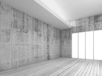 Fototapet Vit inredning bakgrund med trägolv, 3d