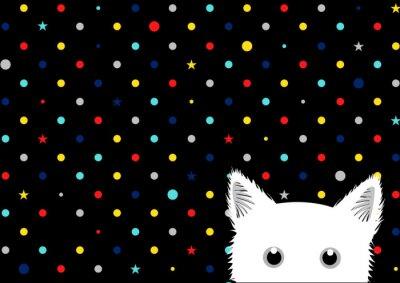 Fototapet Vit katt färgglada prickar Star bakgrund vektor illustration