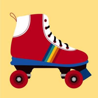 Fototapet Vit och röd skridskoåkning sko