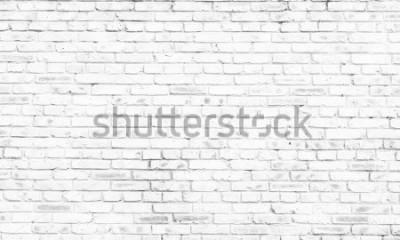 Fototapet vit tegelvägg bakgrund på landsbygden rum,
