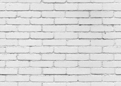 Fototapet Vit tegelvägg, sömlös bakgrund konsistens