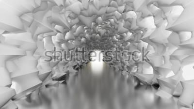 Fototapet Vit tunnel och ljus. 3d illustration, 3d rendering.