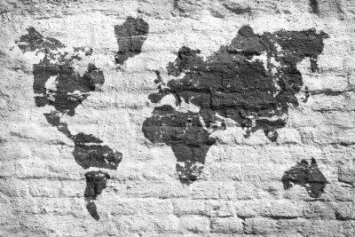Fototapet Vit vägg och en bild världskarta