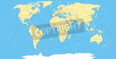 Fototapet Vit World Map och navigering ikoner - illustration.