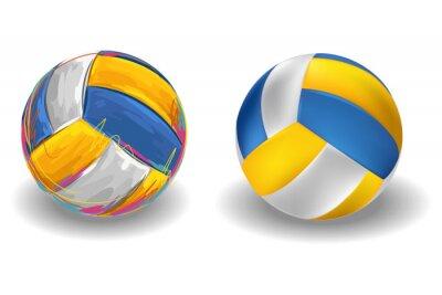 Fototapet Volleyboll Isolerad på vit bakgrund. Alla delar är i separata lager och grupperas.