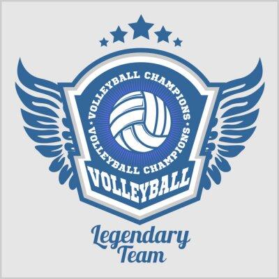 Fototapet Volleyboll mästerskap logotyp med boll. Vector sport emblem för turnering eller mästerskap