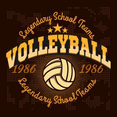 Fototapet Volleyboll mästerskap logotyp med boll - vektor illustration.