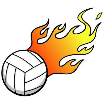 Fototapet Volleyboll med flammar