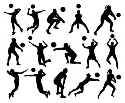 Fototapet volleyboll Silhouettes