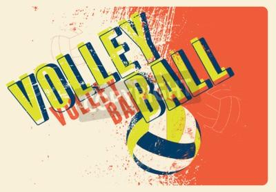 Fototapet Volleyboll typografiska tappning grunge utformar affischen. Retro vektor illustration.