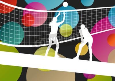 Fototapet Volleybollspelare silhuetter inom idrotten abstrakt vektor bakgrund illustration