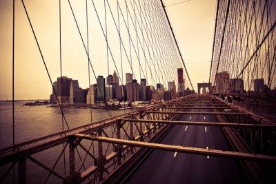 Fototapet Vy över Financial District från Brooklyn bridge
