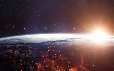Fototapet Vy över jorden från rymden. Delar av denna bild som tillhandahålls av NASA