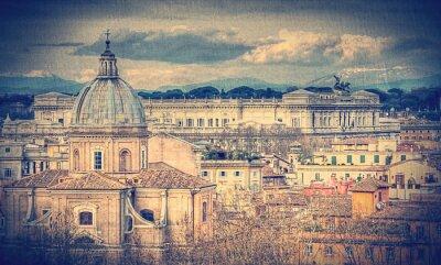 Fototapet Vy över Rom. Retro tonad bild
