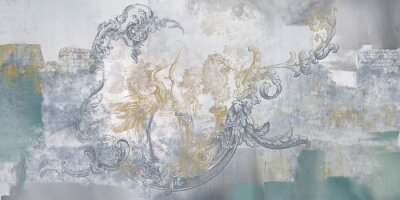 Fototapet Wall mural, wallpaper, in the style of classic, baroque, modern, rococo. Wall mural with birds and concrete grunge background. Light, delicate photo wallpaper design.