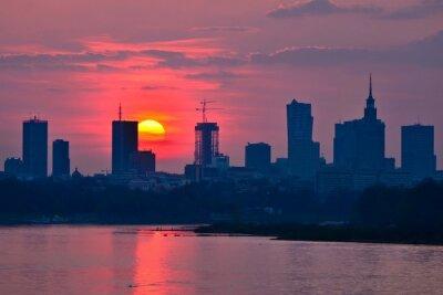 Fototapet Warszawa Down solnedgång