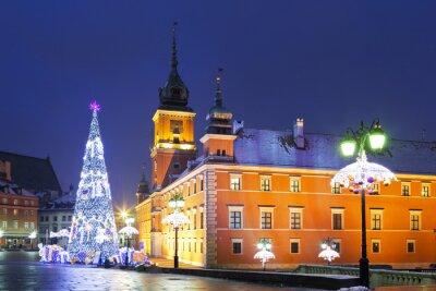 Fototapet Warszawa, slott torg i julhelgen