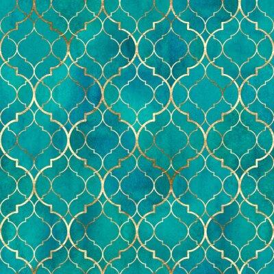 Fototapet Watercolor abstract geometric seamless pattern. Arab tiles. Kaleidoscope effect. Watercolour vintage mosaic texture