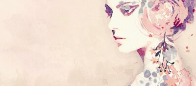 Fototapet Watercolor abstract portrait of girl. Fashion background.