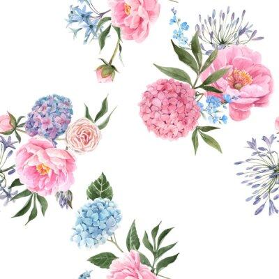 Fototapet Watercolor floral bouquet seamless vector pattern