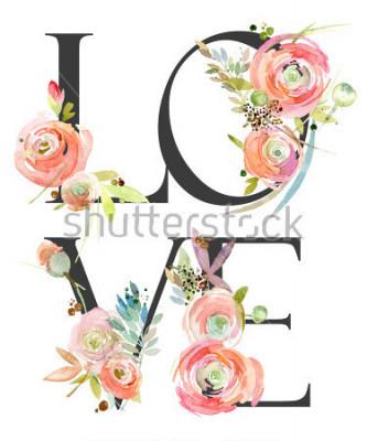 Fototapet watercolor flower background. love
