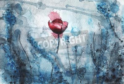 Fototapet watercolor illustration. red poppy flower