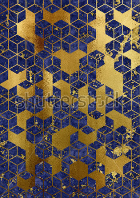 Fototapet Watercolor marble background with geometric cube pattern.
