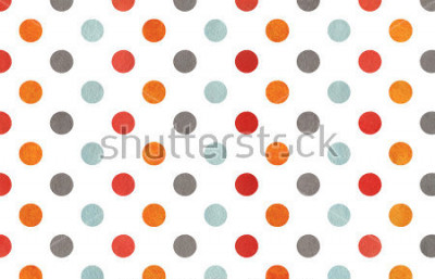 Fototapet Watercolor orange, blue, red and grey polka dot background. Texture with colorful polka dots for scrapbooks, wedding, party or baby shower invitations.