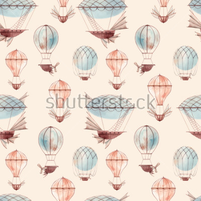 Fototapet Watercolor pattern retro balloon, flying ship, baby wallpaper. retro wallpaper