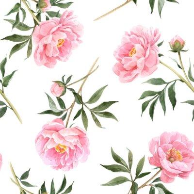 Fototapet Watercolor peony seamless vector pattern