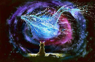 Fototapet Watercolor picture of a cat and whale constellation