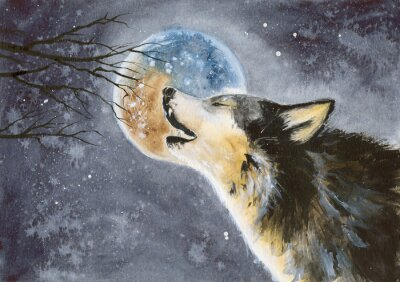 Fototapet  Watercolor picture of a wolf with a moon on the background, snow and tree