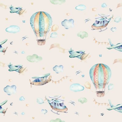 Fototapet Watercolor set background illustration of a cute cartoon and fancy sky scene complete with airplanes, helicopters, plane and balloons, clouds. Boy seamless pattern. It's a baby shower design