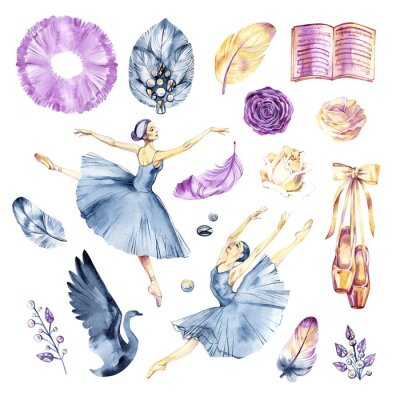 Fototapet Watercolor sketch. Ballet accessories, pointes and skirt. Print elements.