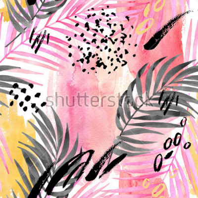 Fototapet Watercolor tropical leaves seamless pattern. Watercolour pink colored and graphic palm leaf painting with minimal elements on color stains background. Hand painted art illustration for summer design.