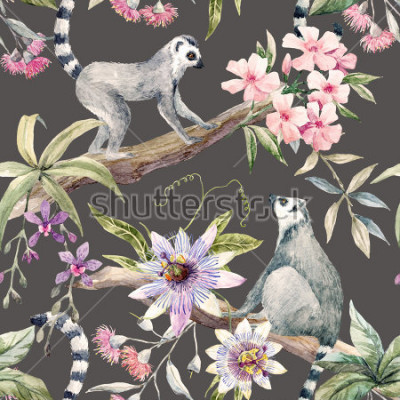 Fototapet Watercolor tropical pattern with lemurs, passionflower, eucalyptus, Pink oleander, orchid and palm leaves