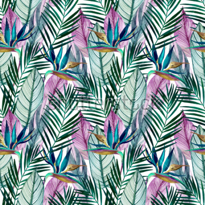 Fototapet Watercolor tropical seamless pattern with bird-of-paradise flower, palm leaves. Exotic flowers, leaves on light background. Hand painted natural illustration